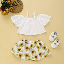 ZAFILLE 2020 New Baby Girls Clothes Solid Top+Sunflower Skirt Toddler Infant Outfits Sets Summer Girls Clothing Kids Cloth Suits girls geometric print top with solid skirt