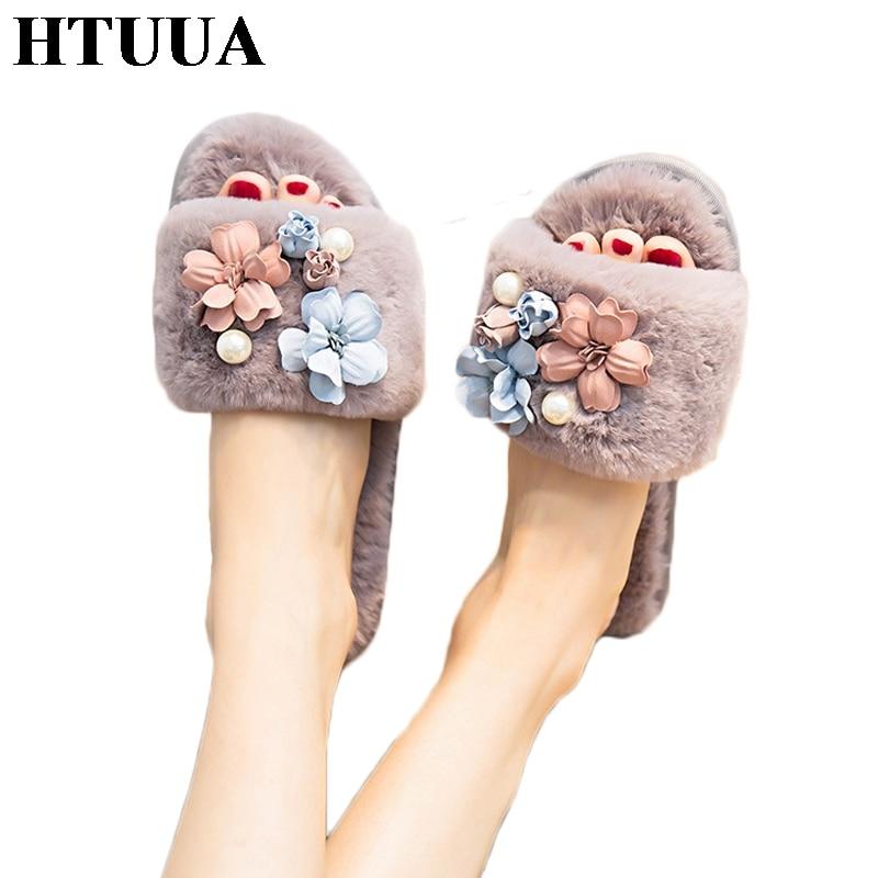 HTUUA Home Slippers Fur Slides Pearl-Flower Fluffy Shoes Plush Winter Korea Women Ladies