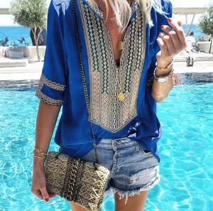 Image 1 - Kadınlar için 2020 yeni yaz bluz gömlek kadın çizgili v yaka yarım kollu Blusas Tops moda kadın streetwear gömlek