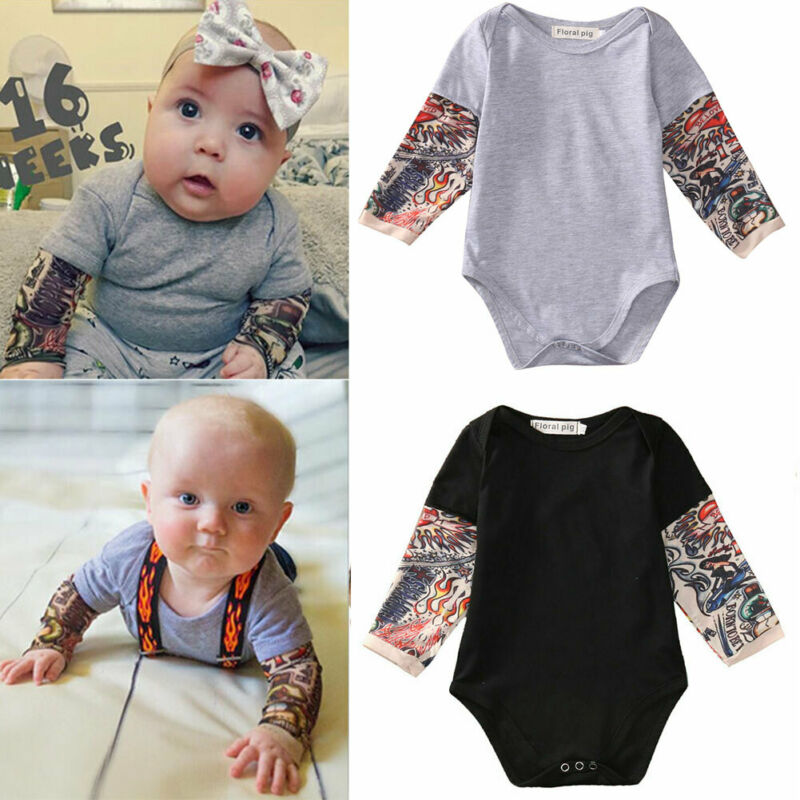 Autumn Cotton Newborn Baby Boy Bodysuit Clothes Tattoos Print Long Sleeve Bodysuit Jumpsuit Outfits Black Gray