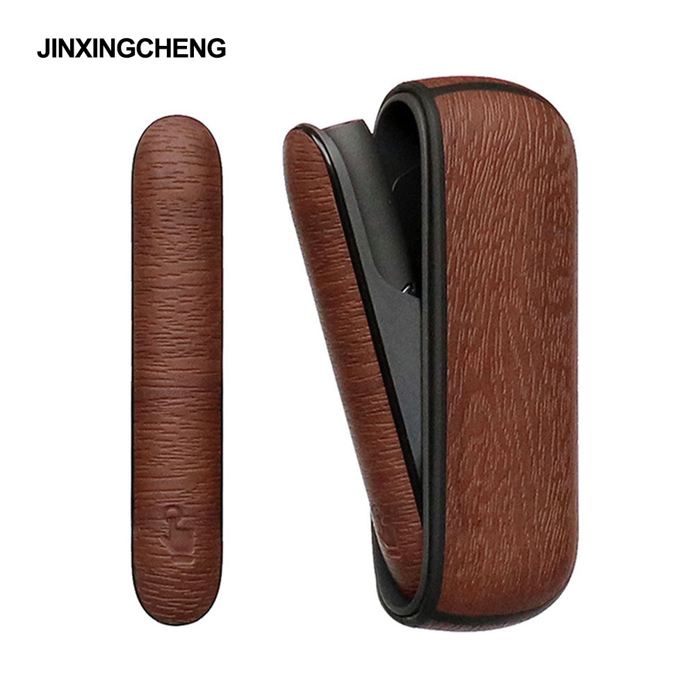 JINXINGCHENG Wood Tree Style Full Cover For Iqos 3 Duo Leather Cases + Side Case Accessories For Iqos 3.0 Bag Holder Cover