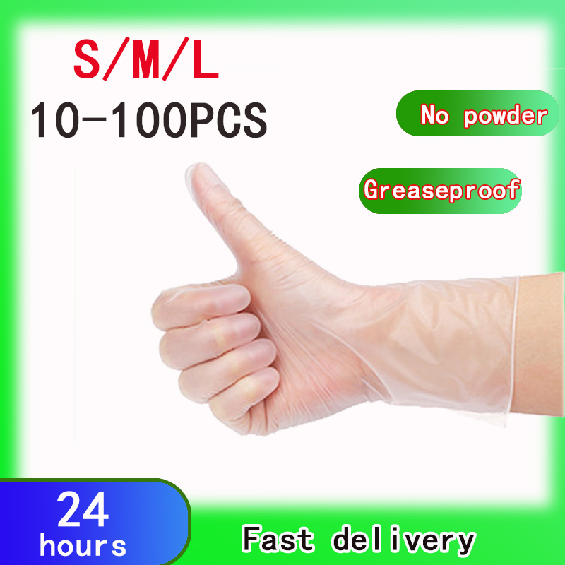 Disposable Gloves Non-Slip PVC Disposable Inspection Gloves Hygienic Household Clean Protective Safety Transparent Gloves