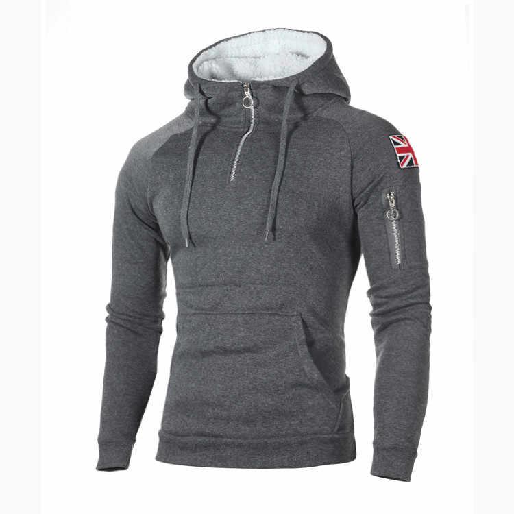 2019 가을 겨울 스웨터 남자 패션 Hoody 큰 크기 따뜻한 양 털 코트 남자 스웨터 후드 티 스웨터 당겨 옴므 풀 오버