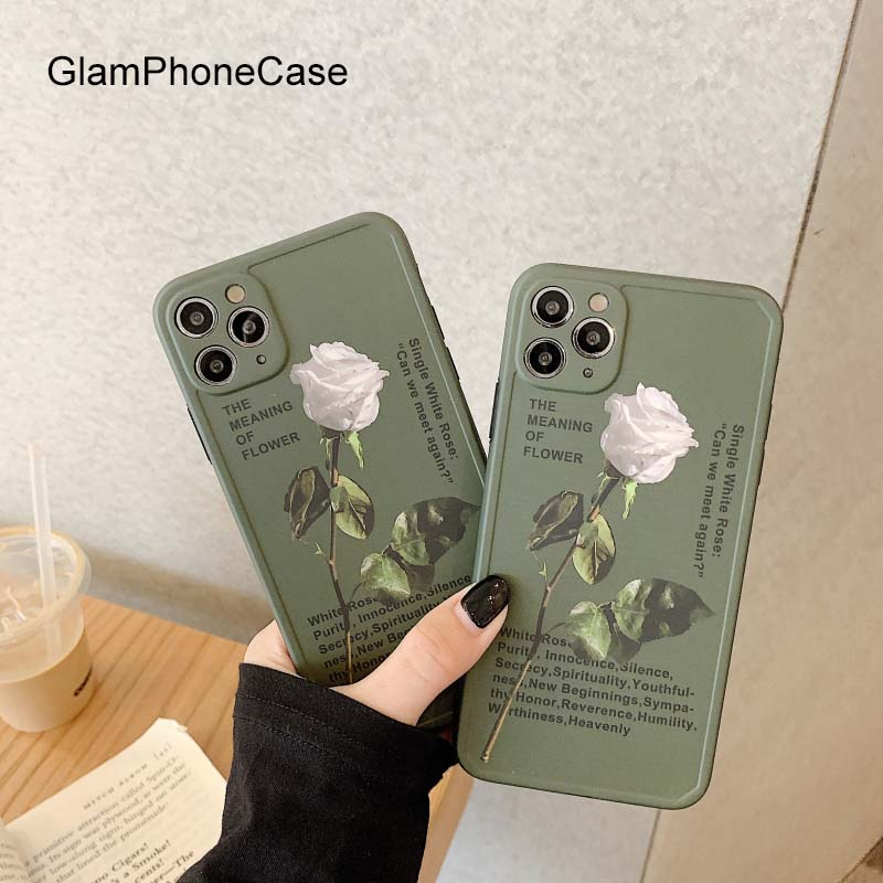 GlamPhoneCase White Rose Phone <font><b>Case</b></font> For iPhoneSE 2 11Pro/Max <font><b>X</b></font> XS Max XR Soft Silicone Cover For iPhone11 7 8Plus <font><b>Case</b></font> image