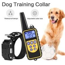 800m coleira de treinamento do cão elétrico pet controle remoto à prova drechargeable água recarregável para todo o tamanho do cão anti dispositivo latido adiestramientoColeira de treinamento