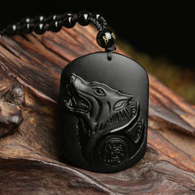 Black Obsidian Fine Carving Wolf Head Lucky Amulet Pendant Necklace For Men Obsidian Wealth Blessing Jade Jewelry Fine Jewelry(China)