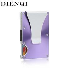 DIENQI High Quality Metal Rfid Credit Card Holder Case Anti-Theft Carbon Fiber Slim Thin Cardholder Men Slide Minimalist Wallet