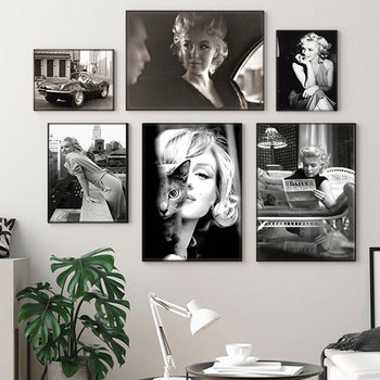 Marilyn Monroe Wall Pictures for Living Room Movie Star Poster and Print Wall Art Canvas Painting Home Decor Black White Figure wall art canvas print back to the future 1 2 3 hot movie poster for living room decor bar decoration