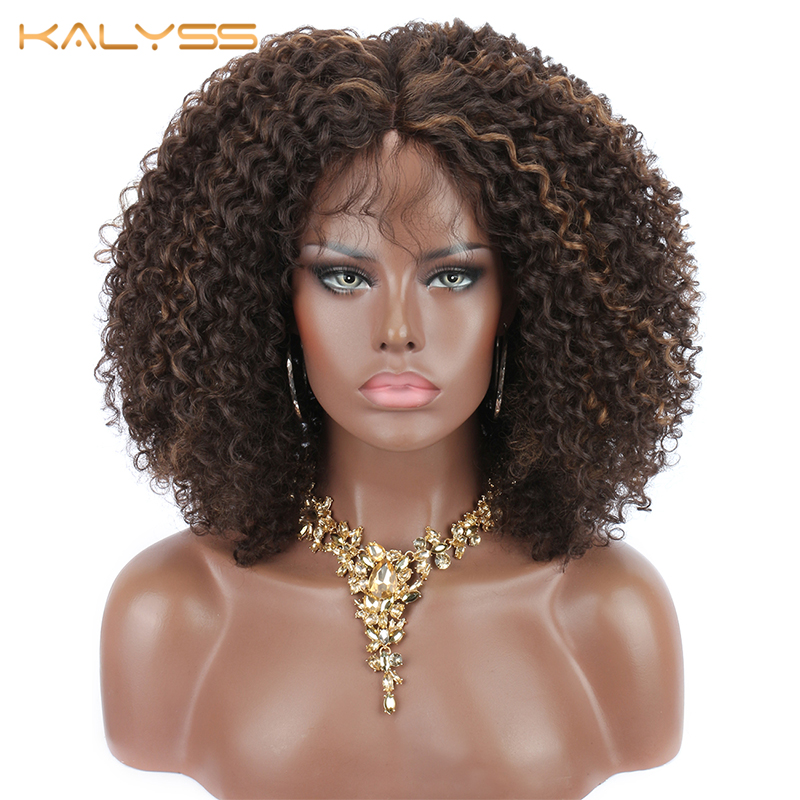 Kalyss 8 Inches Short Synthetic Lace Front Wigs For Black Women Kinky Curly Lace Wigs With Baby Hair Middle Part Hair Black Wigs