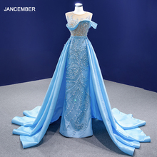 RSM67366 Blue Evening Dress Applique Sequin Sexy See-through Neckline Prom Party Dress Vestido Debutante Vestidos 15