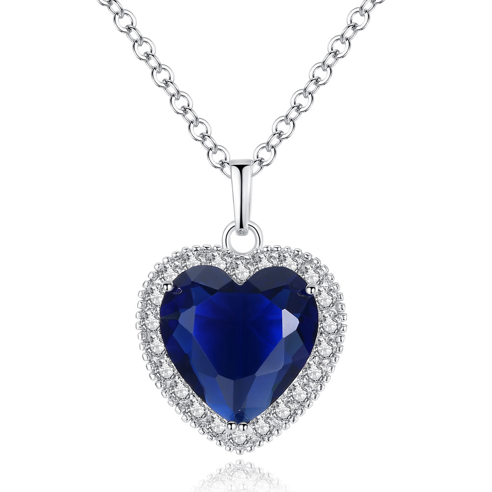 Titanic Ocean Heart Lady Blue CZ Silver Chain High Quality Pendant Necklace Crystal From Swarovskis Fashion Wedding Jewelry