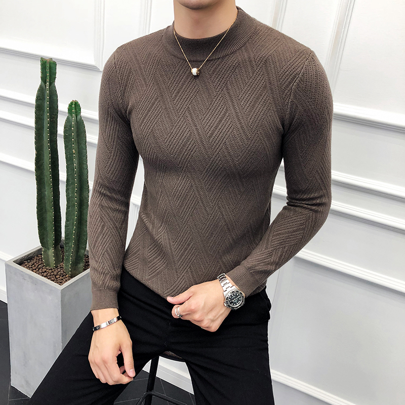 Brand Winter Warm Sweater Men Turtleneck Mens Pullover Solid Color Casual Slim Fit Pullovers Tops Knitted Men Sweaters
