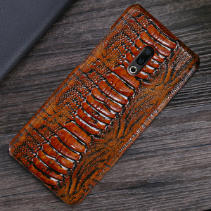 Image 4 - Genuine Leather Phone Case For Meizu 16th Plus 16 16X 17 Pro 7 Plus Cases Luruxy  Cowhide Ostrich Foot Texture Back Cover