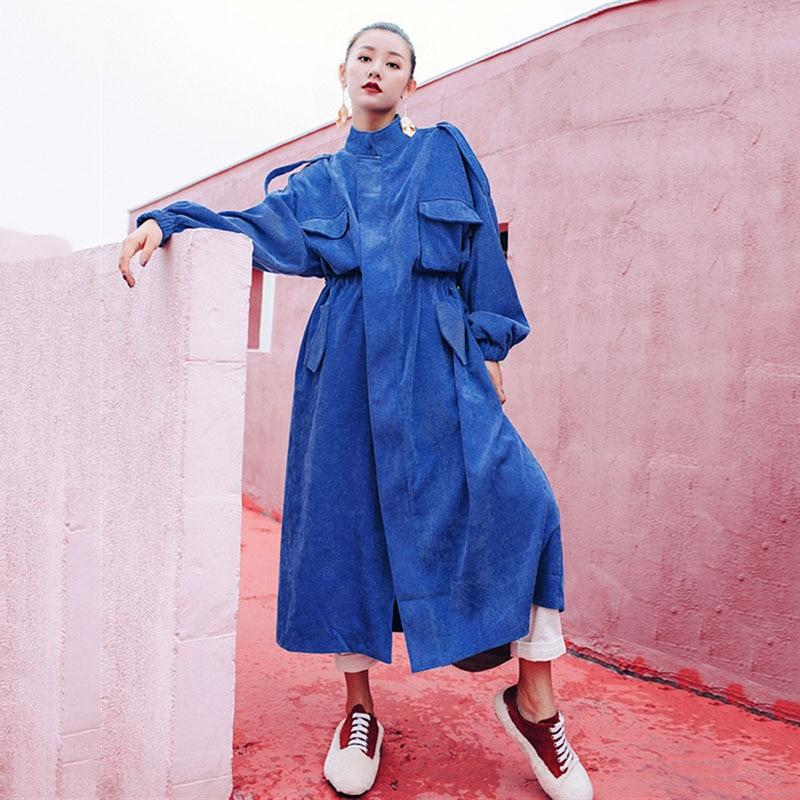 Trend Blue Corduroy Long Trench Coat Women Adjustable Waist High Fashion Autumn 2020 Windbreaker Streetwear Coats Trenchs FY46