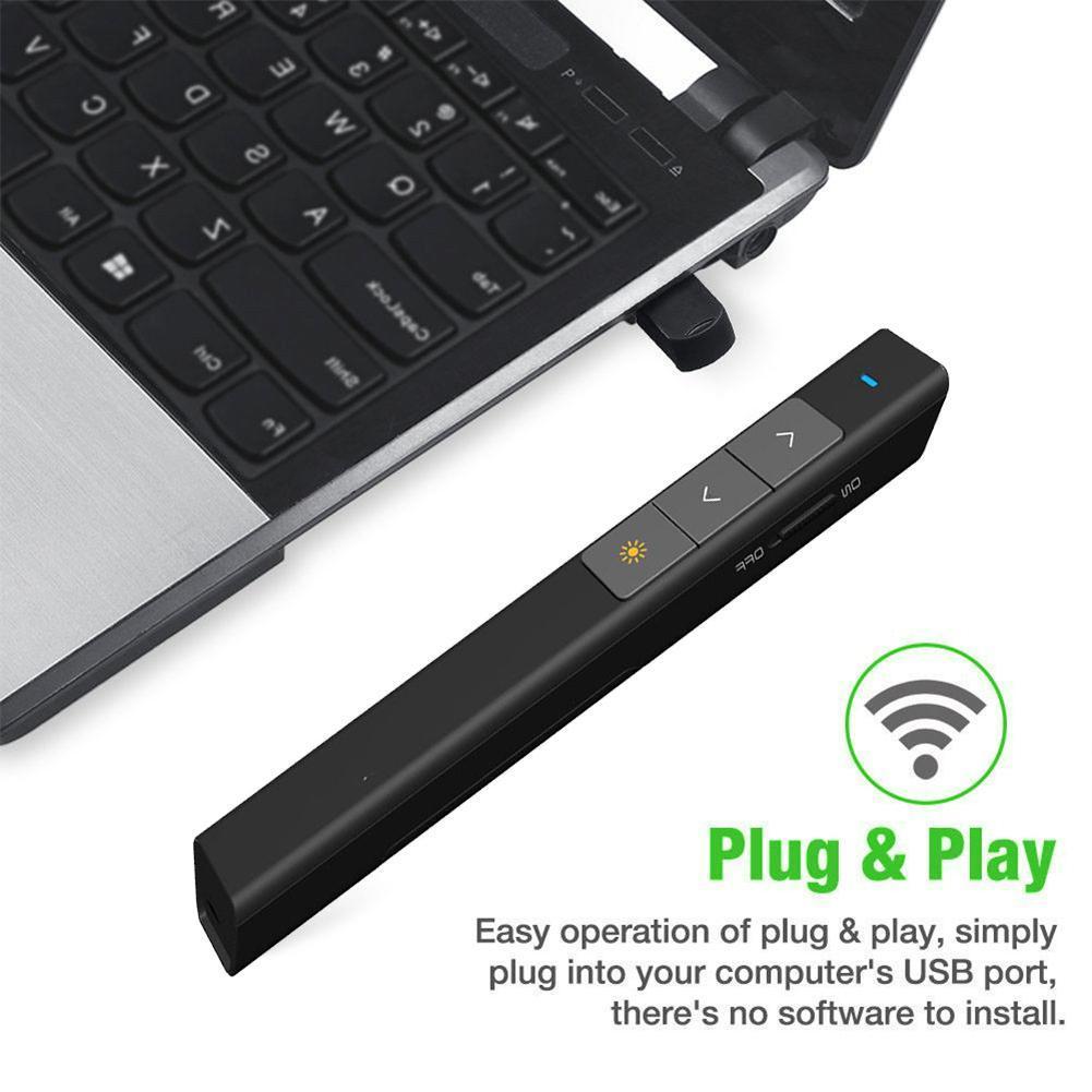 Novo 2.4 ghz sem fio caneta apresentador usb controle remoto powerpoint apresentação clicker ppt ponteiro laser caneta
