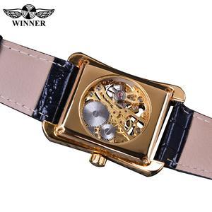 Image 4 - Winner 2017 Retro Casual Series Rectangle Dial Design Golden Pattern Hollow Skeleton Watch Men Watch Top Brand Luxury Mechanical