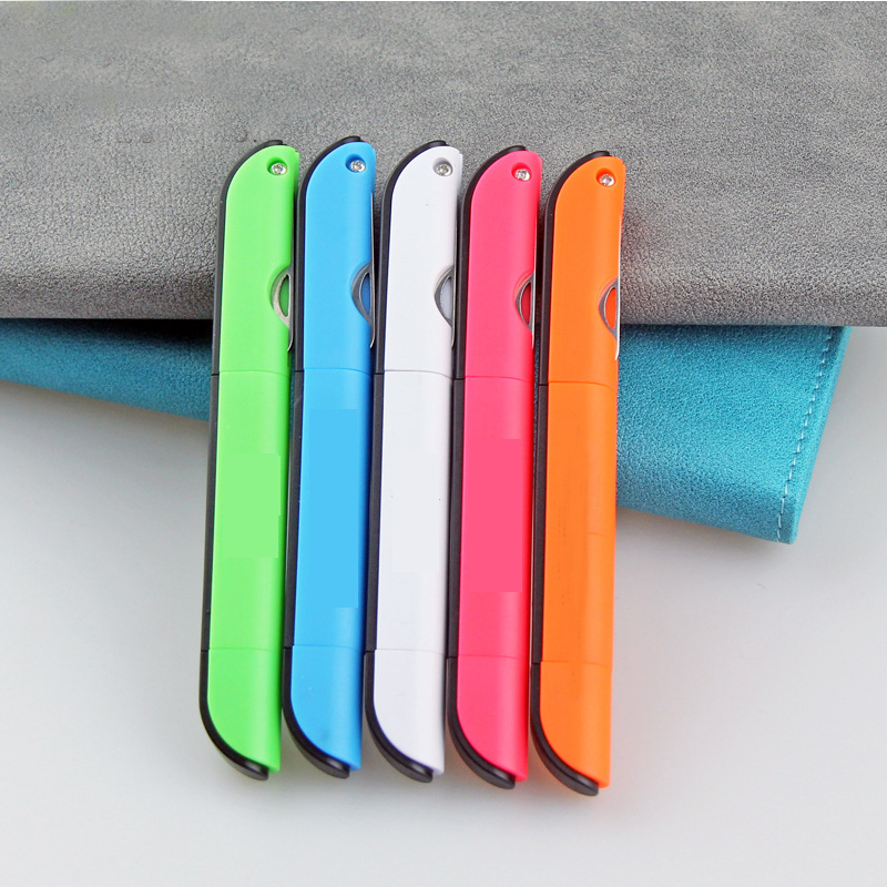 Creative Multifunction Ballpoint Pen With Folding Scissors Knife Ruler Candy Color Pens For Writing Office School Stationery