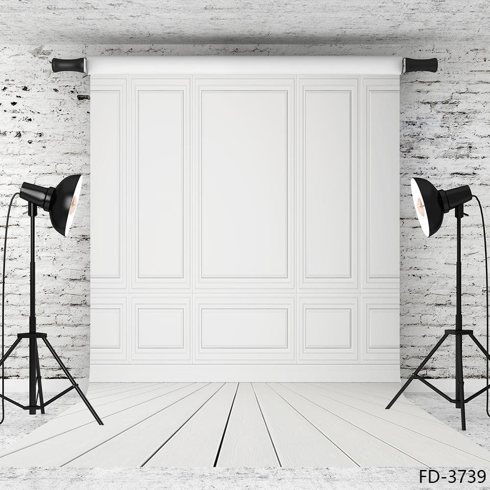 Фон для фотосъемки с изображением белого деревянного пола и стен