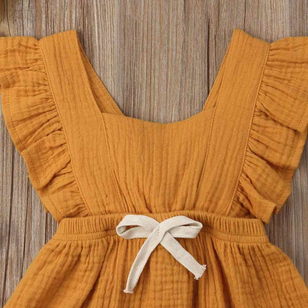 2019 New Lovely Baby Girls Ruffle Solid Color Romper Jumpsuit Outfits Sunsuit for Newborn Infant Clothes Kid Clothing