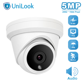 цена на UniLook 5MP POE IP Camera Built in Microphone Outdoor Security CCTV Camera IP66 IR 30m Hikvision Compatible ONVIF P2P H.265