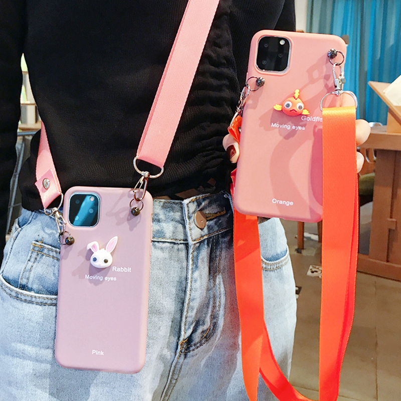 Cartoon Animal Soft TPU Case With Crossbody Strap Lanyard For Iphone 11 Pro Max