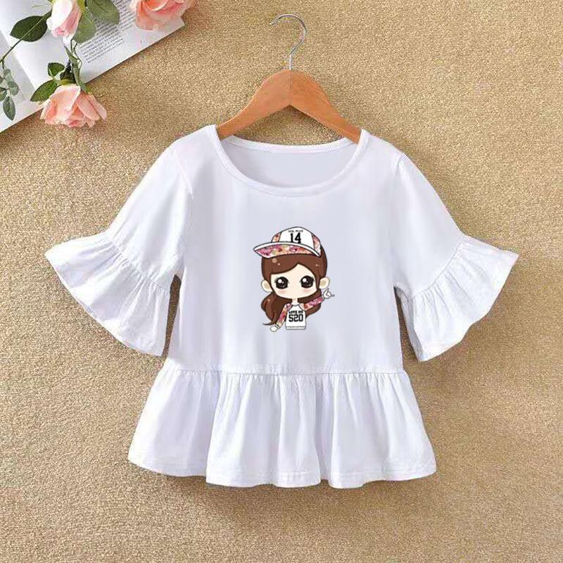 VIDMID 2021 Girls' Long Sleeve T-shirt O-neck Ruffle Cartoon Pattern Baby Girl Top T-shirt Autumn Children's Clothing P72 6