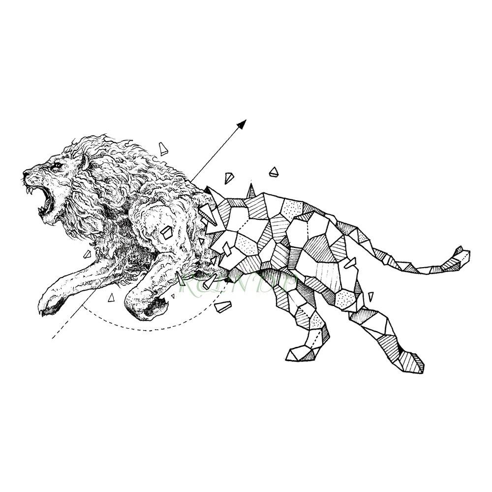 Waterproof Temporary Tattoo Lion Hawk Fox Wolf Whale Owl Geometric Animal Flash Tatto Fake Tatoo For Girl Women Men Kid 7