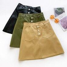 AcFirst Autumn Black Yellow Skirts Women Fashion A-Line Mini Skirt PU Leather All-match Clothing Bodycon Formal M L XL