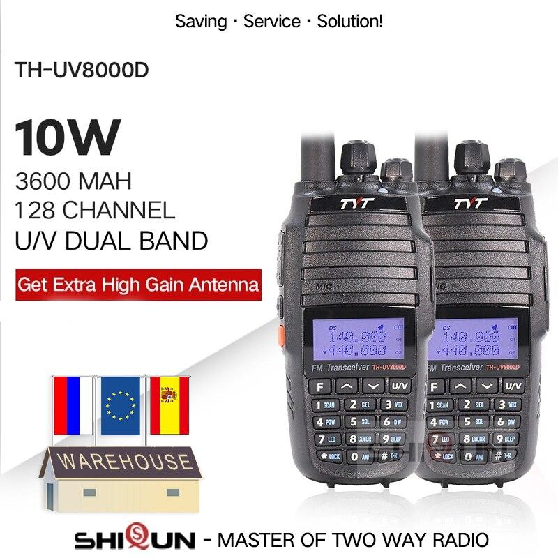 2PCS TYT TH-UV8000D Walkie Talkie 10 KM Dual Band VHF UHF 10W Radio 10 Km 3600mAh Cross-band Repeater Function TH UV800D 8000E
