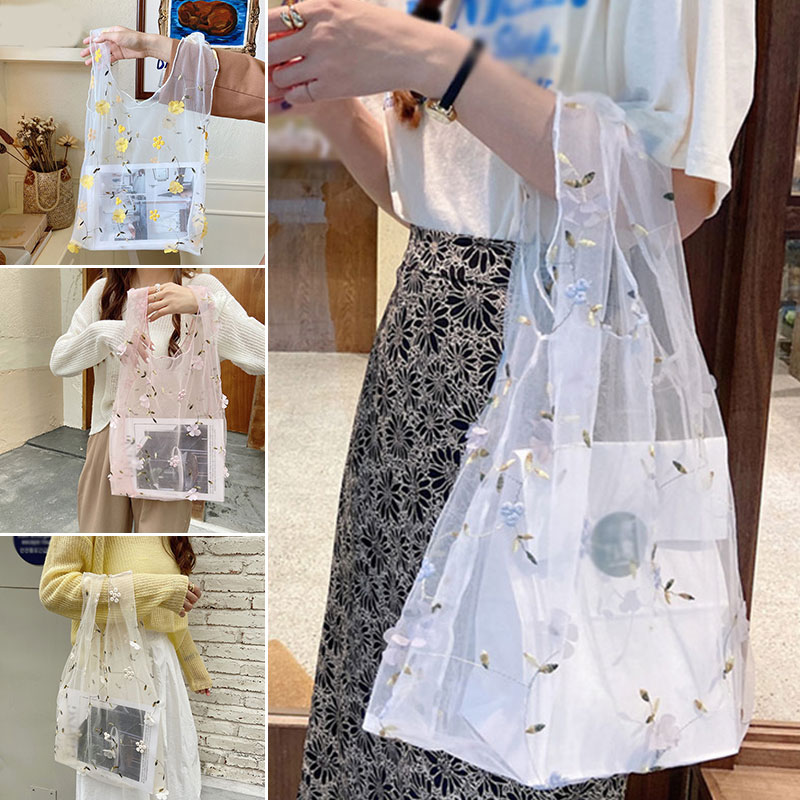DIY Handbag Foldable Top-Handle Bags Embroidery Floral Mesh Shopping Tote Bag Organza Sweet Casual Tote Transparent Lace Organza