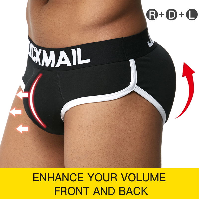 JOCKMAIL Men Padded Hip And Butt Underwear Push Up Cup Bulge Enhancing Underwear Penis Gay Men Underwear Briefs Includes 3 Pad
