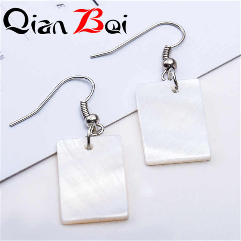 QianBei Korean Version Of Fashion Natural Texture Shell Earrings Frosted Geometric Moon Marble Earrings Elegant Earrings