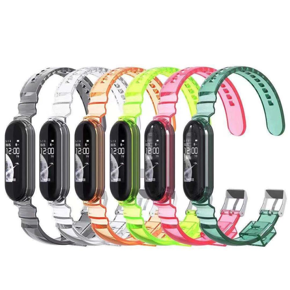 Transparent watch strap For XiaoMi Mi Band 5 4 3 Color transparency Silicone bracelet for Mi Band 3 4 5 Glacier Sports Wristband