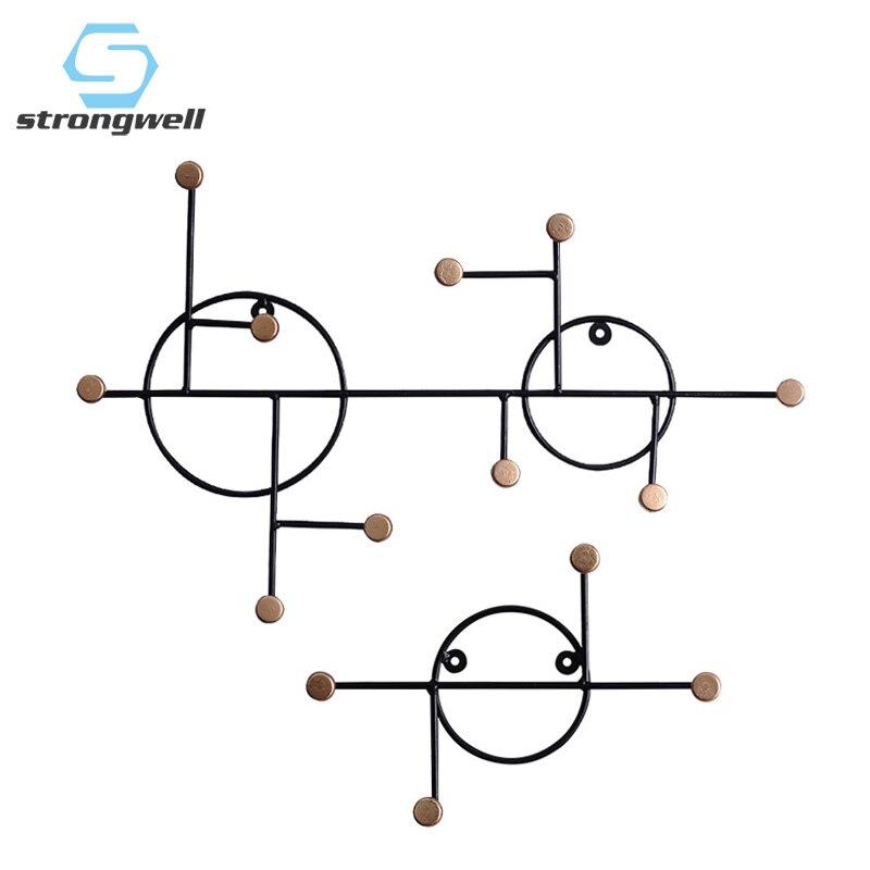 Strongwell European Key Holder Wall Hanger Wall Hook Key Hanger Minimalist Iron Coat Rack Multi-Functional Fitting Decoration