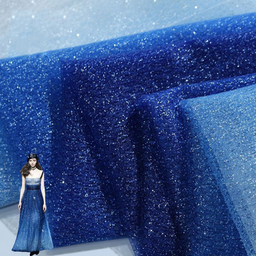 Width 150cm Dark Blue Gradual Star Sky Bronzing Mesh Fabric Transparent Dress Background Fabric DIY Women Wedding Dress Fabric