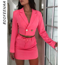 BOOFEENAA Two Piece Set Long Sleeve Blazer and Skirt Set Office Suits for Women Sexy Fall Outfits Neon Orange Pink C70-AH61(China)