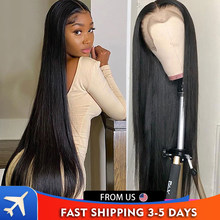 Perruque Lace Frontal Wig brésilienne lisse, 30 pouces, cheveux naturels, partie en T, bon marché