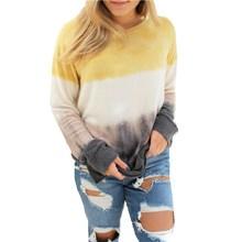 Модная женская толстовка Tie Dye, Женский мешковатый пуловер, свободные топы с длинным рукавом и круглым вырезом, джемпер, толстовки