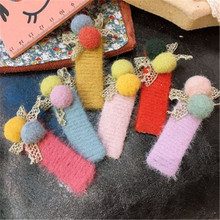 Kids Children Girls Hair clips Korean Cute Fall Winter Pompom BB Hairpins Solid Lace Bow Knot Head wear Accessories-SWD-W7