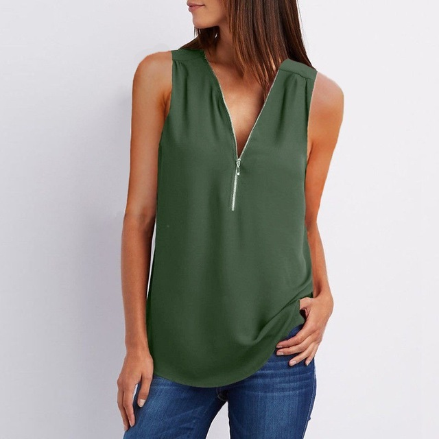 Casual Summer Top Shirt Zipper Loose 3