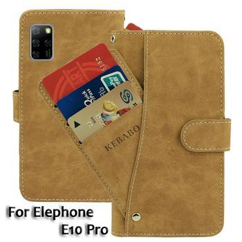 Перейти на Алиэкспресс и купить Кожаный бумажник Elephone E10 Pro Чехол 6,55 дюймФлип модные роскошные чехлы с отделениями для карточек на передней панели чехол s чехол бизнес магнитны...