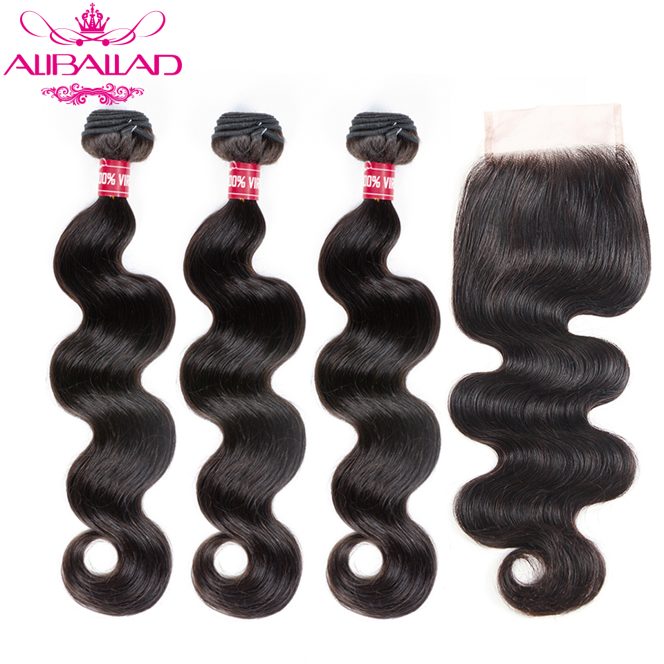 Aliballad Brazilian Body Wave Bundles With Closure 4x4 Inches Remy Human Hair Weave Extension 3 Bundles With Closure