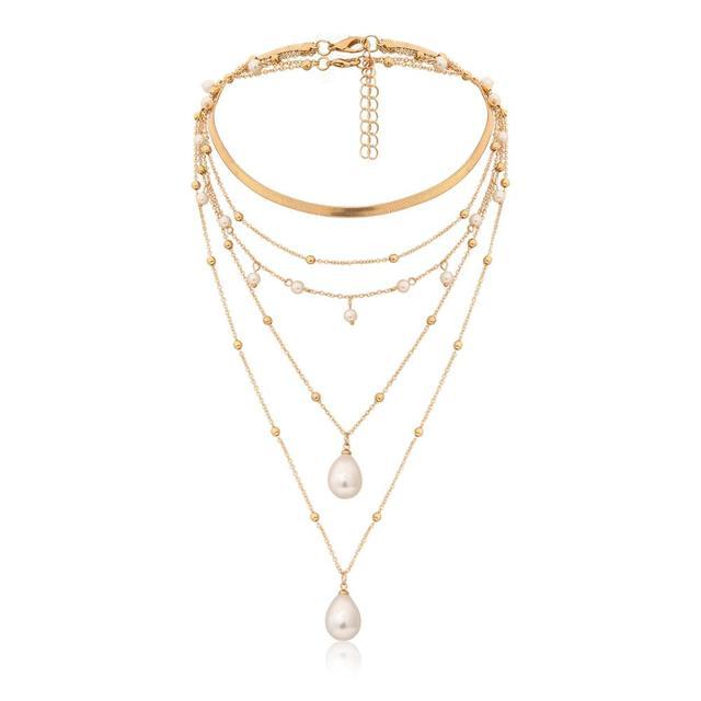 Bohemian Multi Layer Imitation Pearl Necklace 3