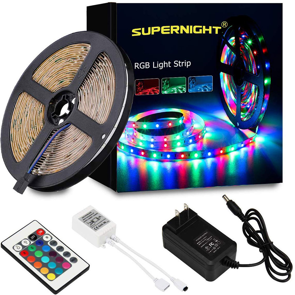 LED Strip Lights 16.4ft SMD 3528 RGB 300 LED Color Changing Kit with Flexible Strip Light 24/44 Key IR Remote Control party deco