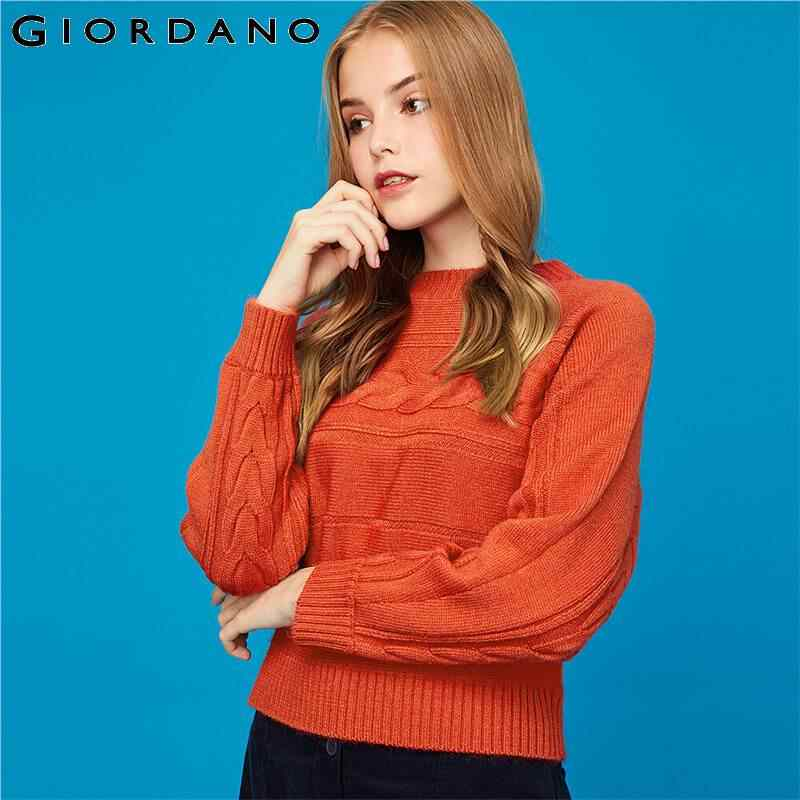 Giordano Women Sweaters Thick 5-needle Cable Knitted Sweater Women Ribbed Crewneck Durable Blusa De Frio Feminina 05359621