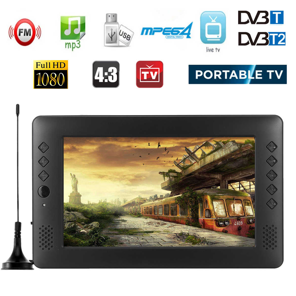 تلفاز صغير محمول 9 بوصة DVB-T/T2 DTV FM HD 1080P H.265 تلفاز Led رقمي وتناظري يدعم MP4 AC3 HDMI مراقب