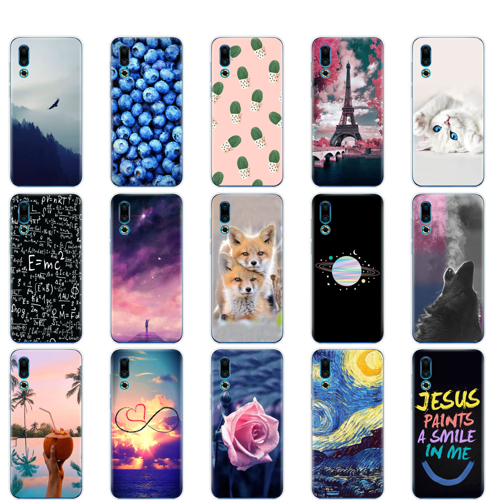 case For <font><b>Meizu</b></font> 16S Case 6.2'' Cartoon Painted Soft TPU Silicone Cover For <font><b>Meizu</b></font> 16s <font><b>16</b></font> S Phone Coque <font><b>360</b></font> Protective shell image