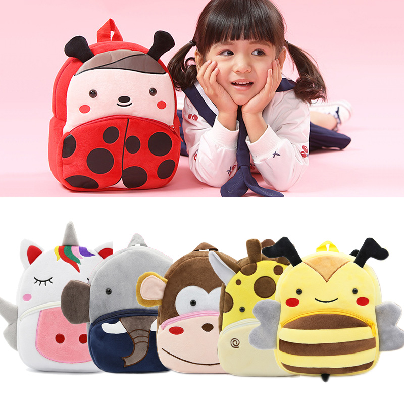 Kids Cute Animal Series Plush Backpack Kindergarten Boy Girl Cartoon Soft Kawaii School Bag For Baby Gift 2-4 Years