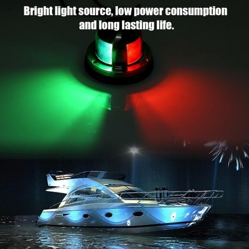 2 In1 Red Green Navigation 8 LED Marine Bow Boat 12V Yacht Pontoon Bright Lights Navigation Bulb Light Boat Bow Light