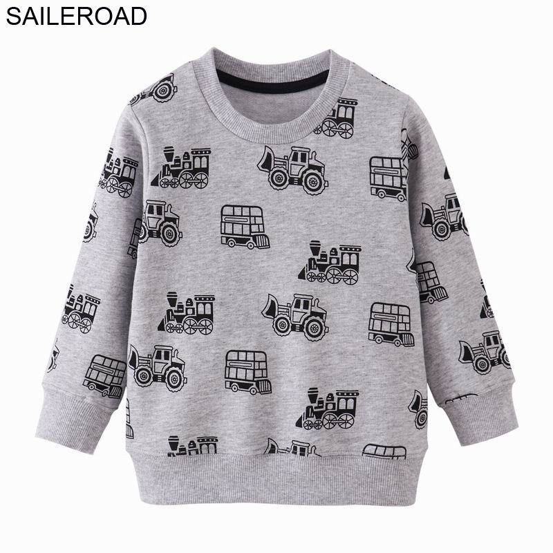 SAILEROAD Tractors Print Boys Sweatshirts Autumn Spring Children's Clothing Cotton for Baby Boys Clothes Kids Hoodies 1